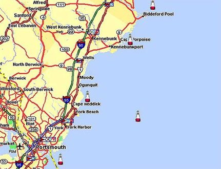 Maine Lighthouse Map Maine Lighthouse Directory | York Region Maine Lighthouse Map